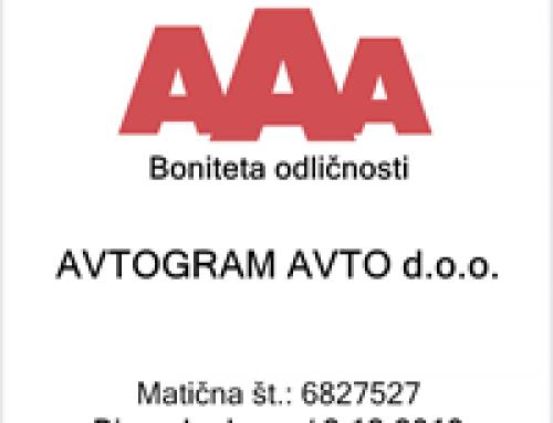 Avtogram je pridobil oceno bonitetne odličnosti AAA